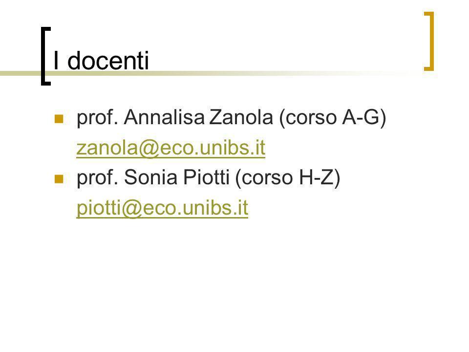 I docenti prof. Annalisa Zanola (corso A-G) zanola@eco.unibs.it prof. Sonia Piotti (corso H-Z) piotti@eco.unibs.it