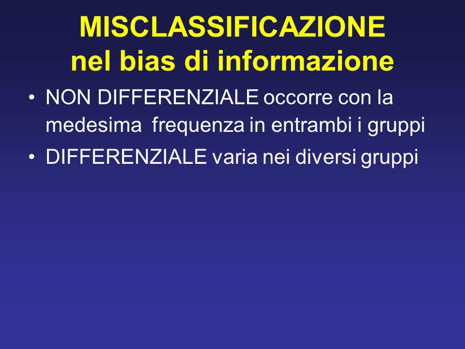 MISCLASSIFICAZIONE nel bias di informazione NON DIFFERENZIALE occorre con la medesima frequenza in entrambi i gruppi DIFFERENZIALE varia nei diversi gruppi