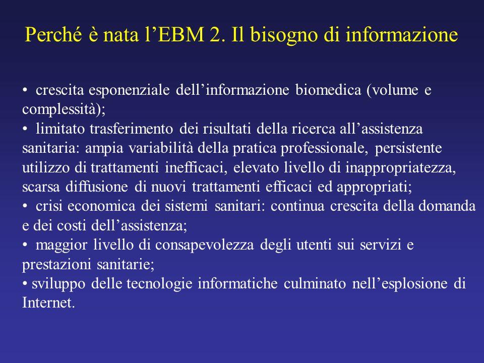 crescita esponenziale dellinformazione biomedica (volume e complessità); limitato trasferimento dei risultati della ricerca allassistenza sanitaria: a