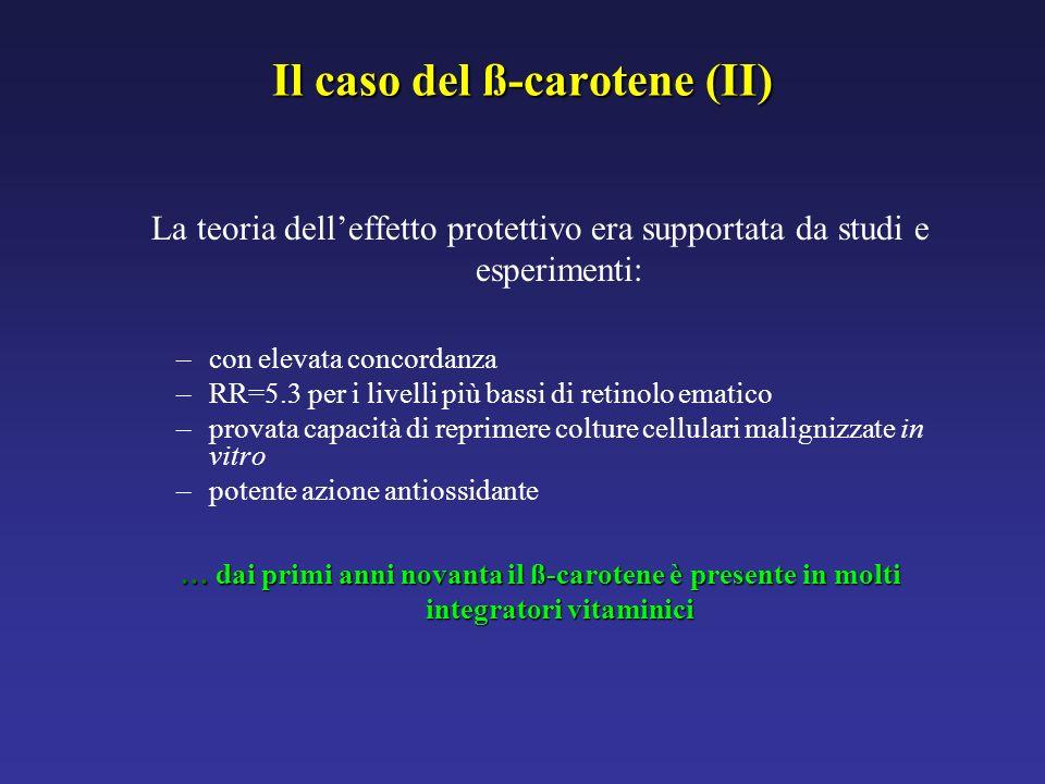 Il caso del ß-carotene (II) La teoria delleffetto protettivo era supportata da studi e esperimenti: –con elevata concordanza –RR=5.3 per i livelli più