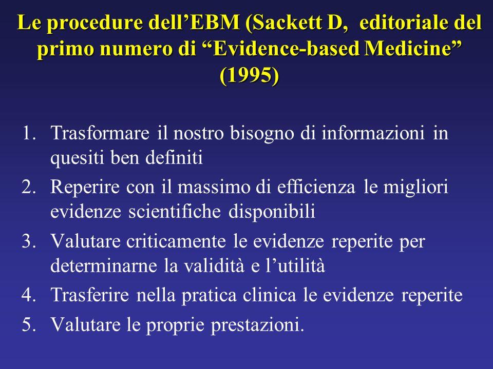 1.Trasformare il nostro bisogno di informazioni in quesiti ben definiti 2.Reperire con il massimo di efficienza le migliori evidenze scientifiche disp