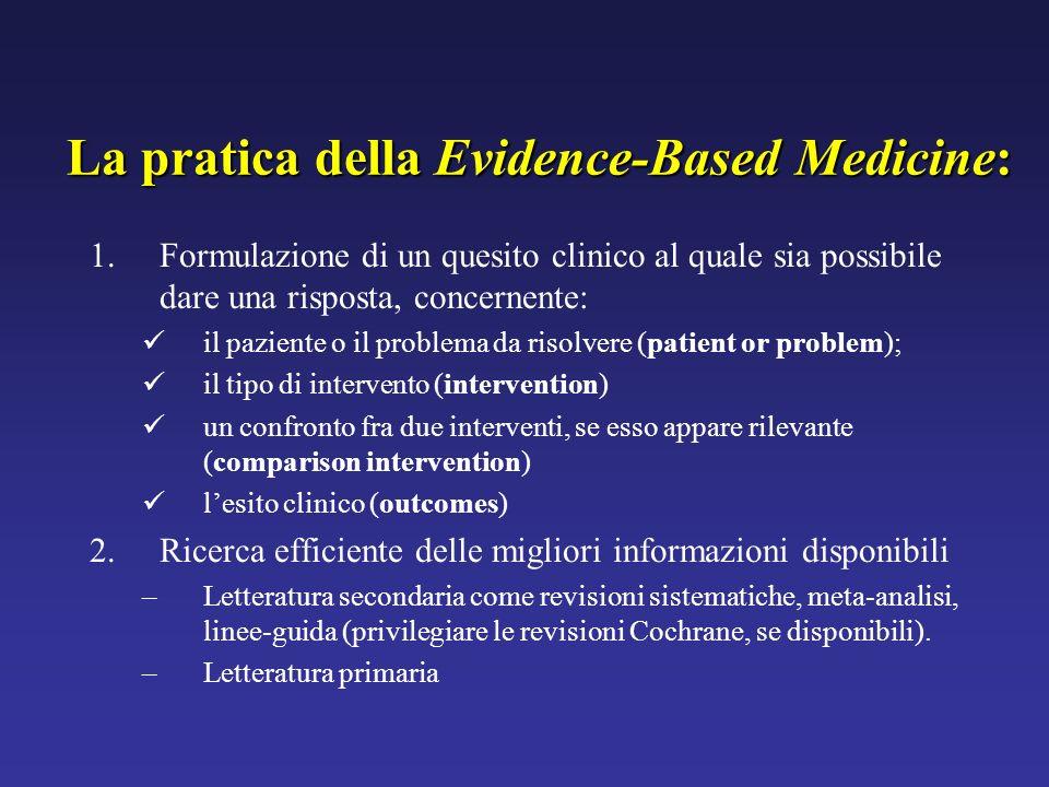 La pratica della Evidence-Based Medicine: 1.Formulazione di un quesito clinico al quale sia possibile dare una risposta, concernente: il paziente o il