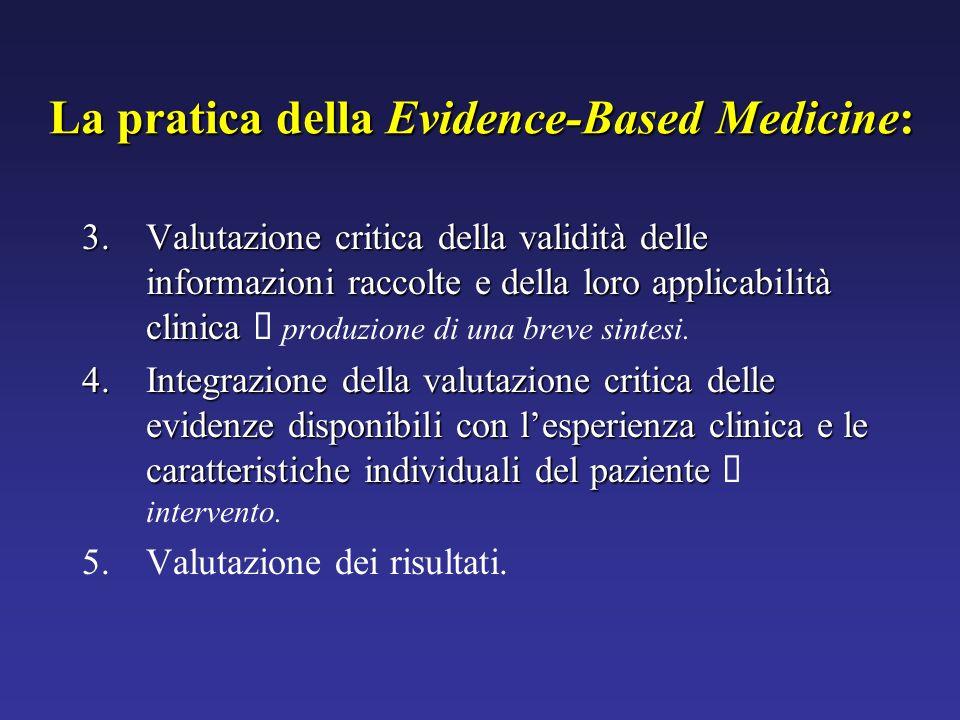 3.Valutazione critica della validità delle informazioni raccolte e della loro applicabilità clinica 3.Valutazione critica della validità delle informa