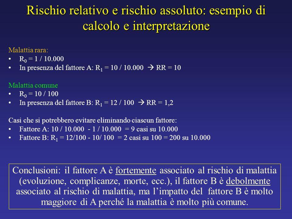 Rischio relativo e rischio assoluto: esempio di calcolo e interpretazione Malattia rara: R 0 = 1 / 10.000 In presenza del fattore A: R 1 = 10 / 10.000