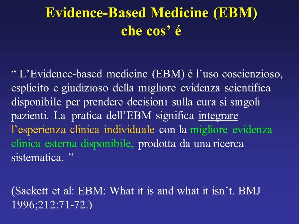 Evidence-Based Medicine (EBM) che cos é LEvidence-based medicine (EBM) è luso coscienzioso, esplicito e giudizioso della migliore evidenza scientifica