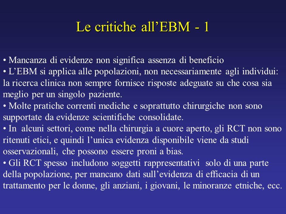 Le critiche allEBM - 1 Mancanza di evidenze non significa assenza di beneficio LEBM si applica alle popolazioni, non necessariamente agli individui: l
