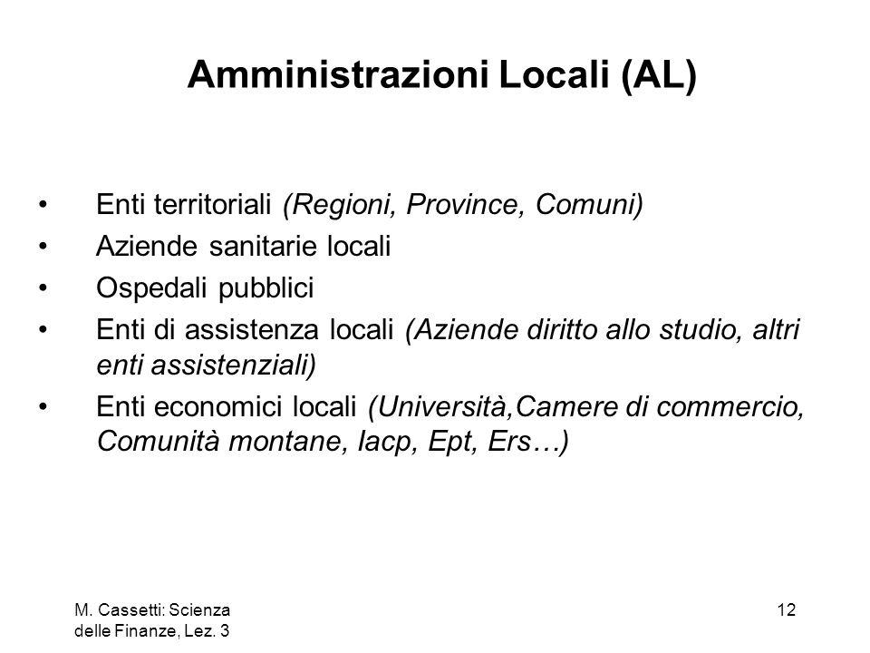 M. Cassetti: Scienza delle Finanze, Lez. 3 12 Amministrazioni Locali (AL) Enti territoriali (Regioni, Province, Comuni) Aziende sanitarie locali Osped