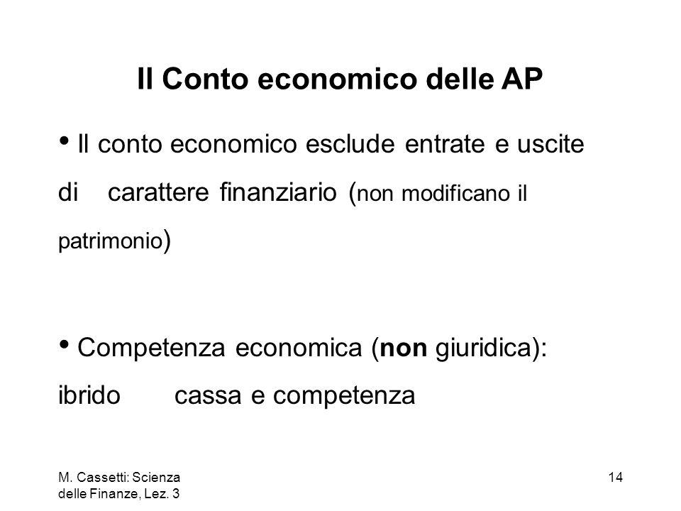 M. Cassetti: Scienza delle Finanze, Lez. 3 14 Il Conto economico delle AP Il conto economico esclude entrate e uscite di carattere finanziario ( non m