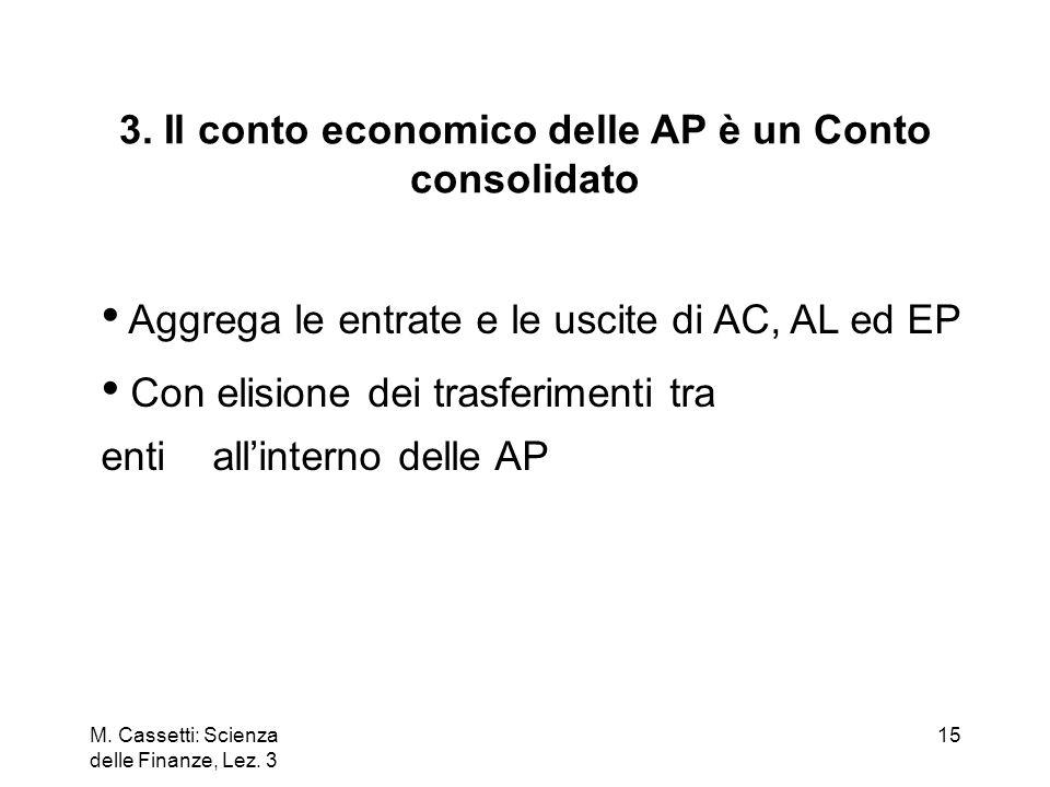 M. Cassetti: Scienza delle Finanze, Lez. 3 15 3. Il conto economico delle AP è un Conto consolidato Aggrega le entrate e le uscite di AC, AL ed EP Con