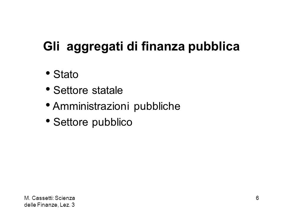 M. Cassetti: Scienza delle Finanze, Lez. 3 6 Stato Settore statale Amministrazioni pubbliche Settore pubblico Gli aggregati di finanza pubblica