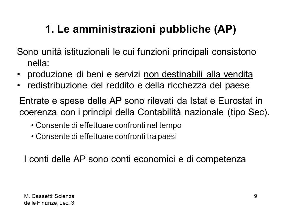 M. Cassetti: Scienza delle Finanze, Lez. 3 9 1. Le amministrazioni pubbliche (AP) Sono unità istituzionali le cui funzioni principali consistono nella