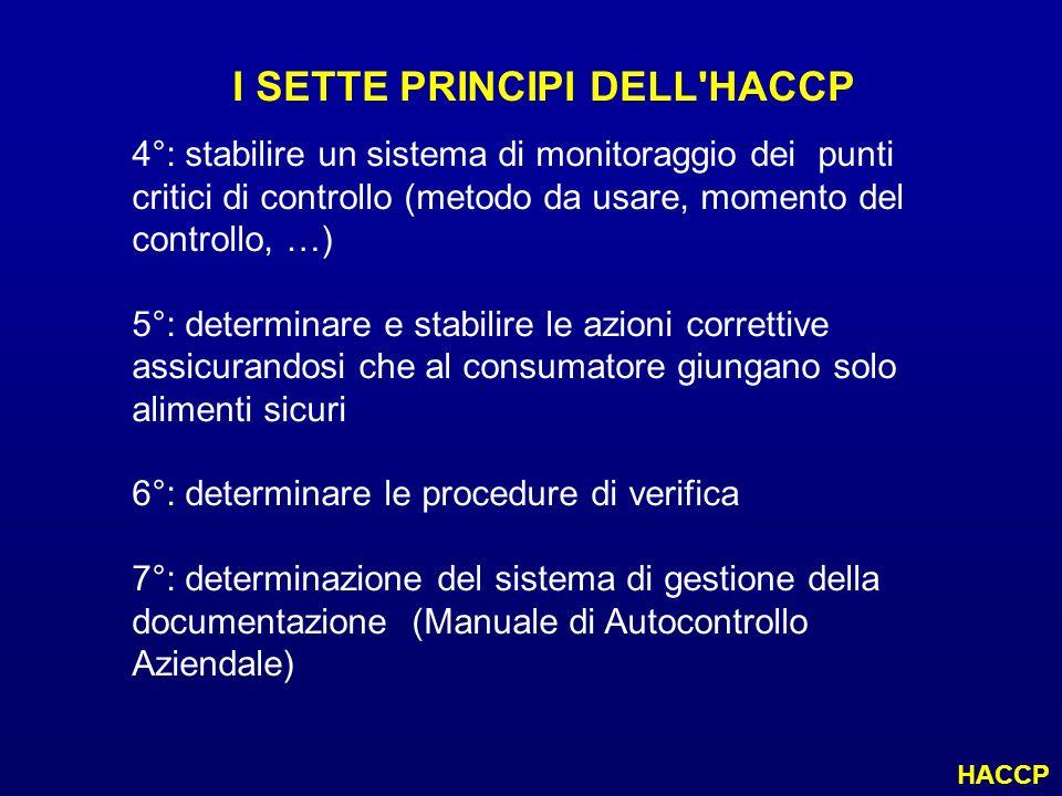 I SETTE PRINCIPI DELL'HACCP 4°: stabilire un sistema di monitoraggio dei punti critici di controllo (metodo da usare, momento del controllo, …) 5°: de