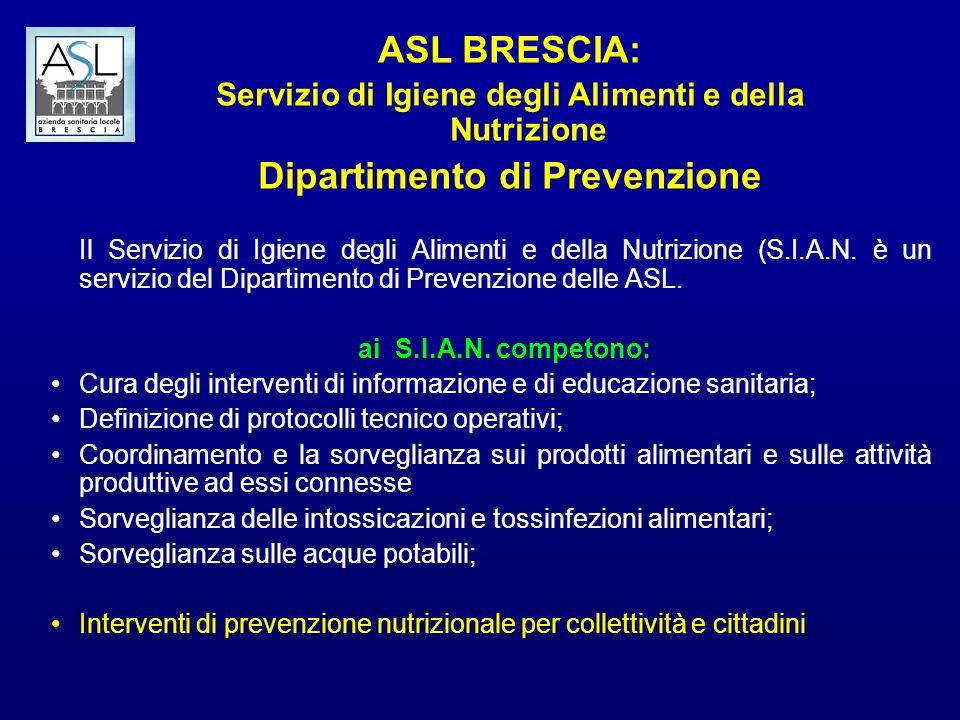 ASL BRESCIA: Servizio di Igiene degli Alimenti e della Nutrizione Dipartimento di Prevenzione Il Servizio di Igiene degli Alimenti e della Nutrizione