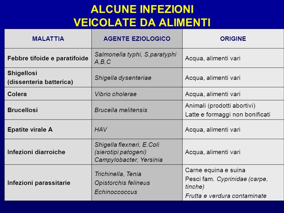 ALCUNE INFEZIONI VEICOLATE DA ALIMENTI MALATTIAAGENTE EZIOLOGICOORIGINE Febbre tifoide e paratifoide Salmonella typhi, S.paratyphi A,B,C Acqua, alimen