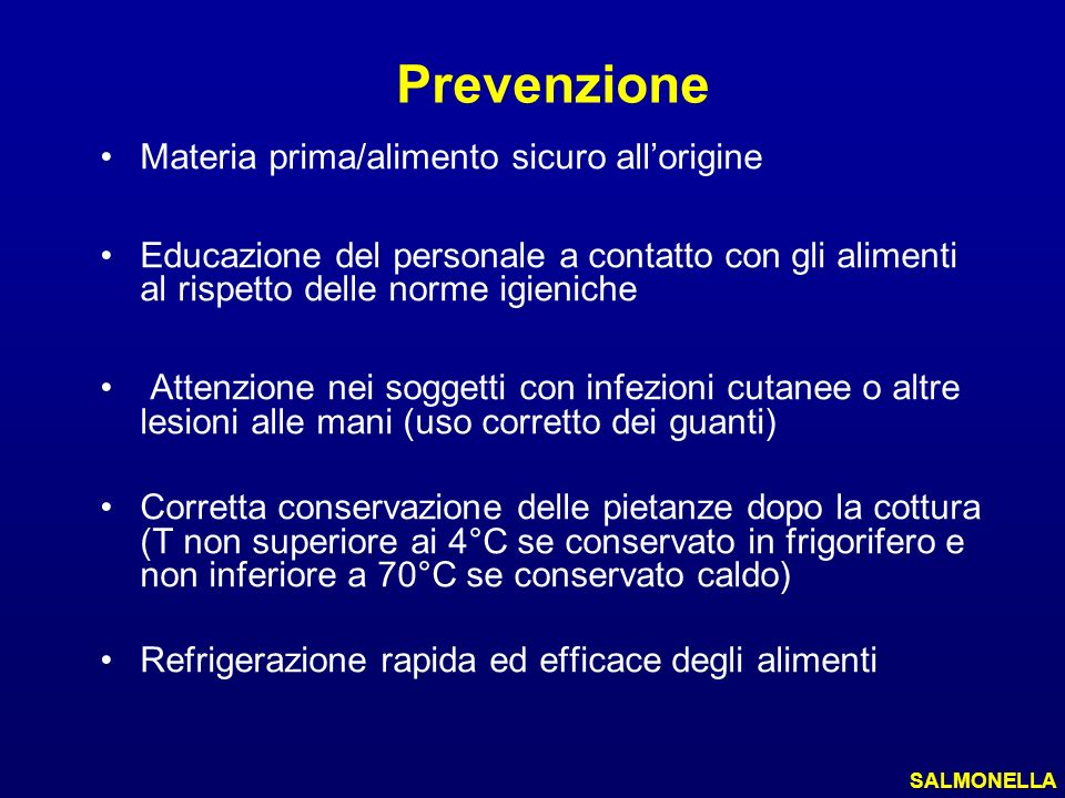 Prevenzione Materia prima/alimento sicuro allorigine Educazione del personale a contatto con gli alimenti al rispetto delle norme igieniche Attenzione