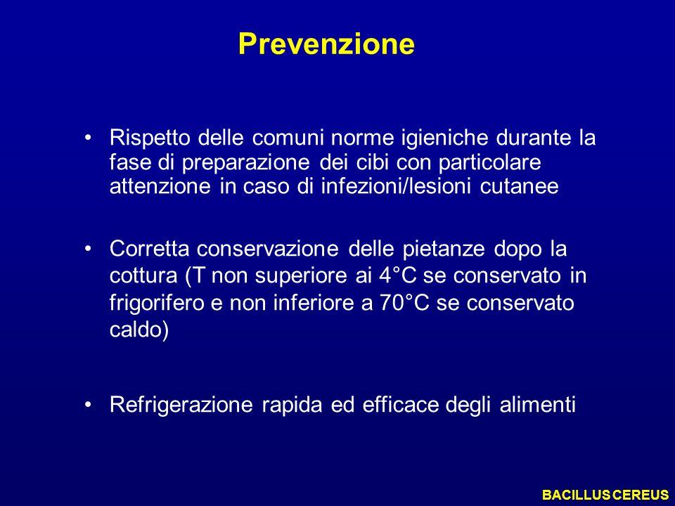 Prevenzione BACILLUS CEREUS Rispetto delle comuni norme igieniche durante la fase di preparazione dei cibi con particolare attenzione in caso di infez