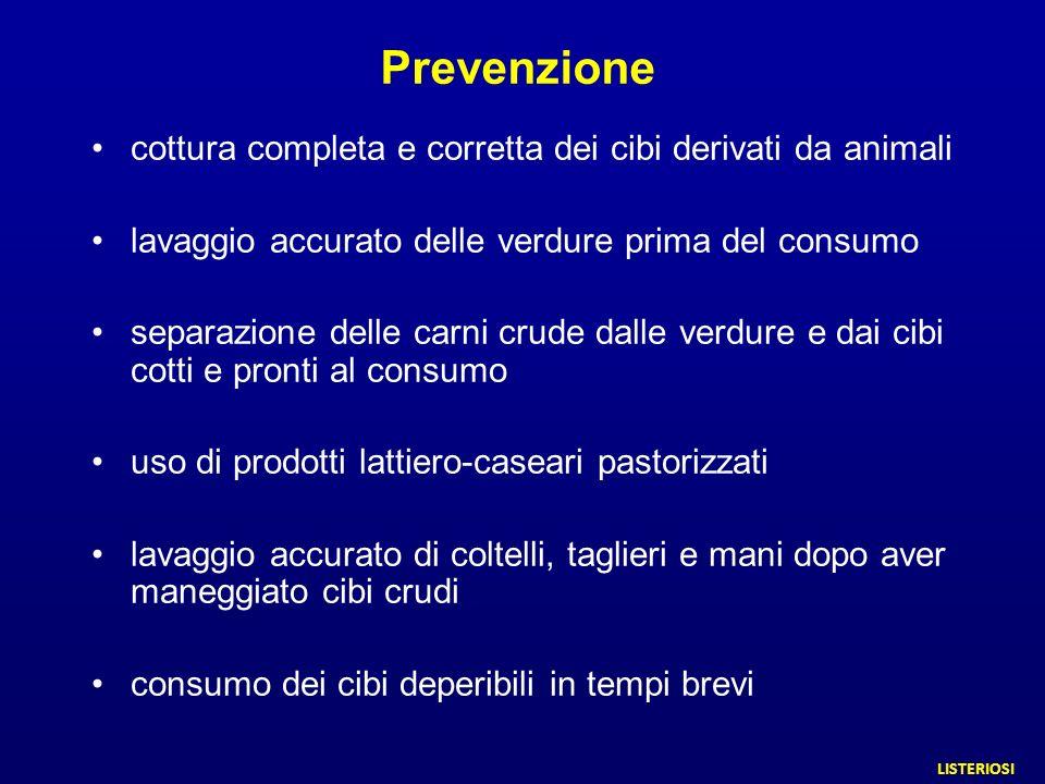 Prevenzione cottura completa e corretta dei cibi derivati da animali lavaggio accurato delle verdure prima del consumo separazione delle carni crude d