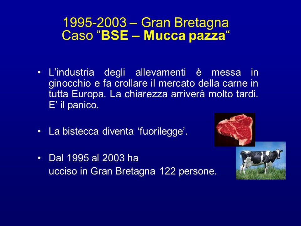 1995-2003 – Gran Bretagna Caso BSE – Mucca pazza Lindustria degli allevamenti è messa in ginocchio e fa crollare il mercato della carne in tutta Europ