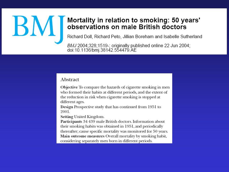 FUMO DI TABACCO E MALATTIE CRONICO- DEGENERATIVE: LO STUDIO DEI MEDICI INGLESI (R. Doll e R. Peto) Nel 1951 sono stati arruolati 59.600 medici inglesi