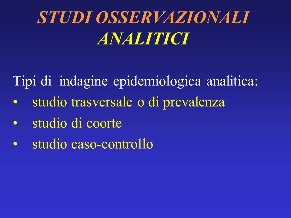 STUDI OSSERVAZIONALI ANALITICI Gli studi analitici, o etiologici, si propongono di investigare le cause dei fenomeni morbosi. Vi è unassociazione di c