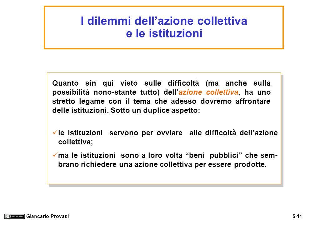 5-11 Giancarlo Provasi I dilemmi dellazione collettiva e le istituzioni Quanto sin qui visto sulle difficoltà (ma anche sulla possibilità nono-stante