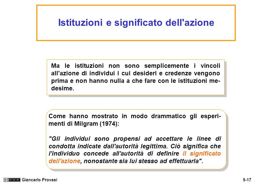 5-17 Giancarlo Provasi Istituzioni e significato dell'azione Ma le istituzioni non sono semplicemente i vincoli all'azione di individui i cui desideri