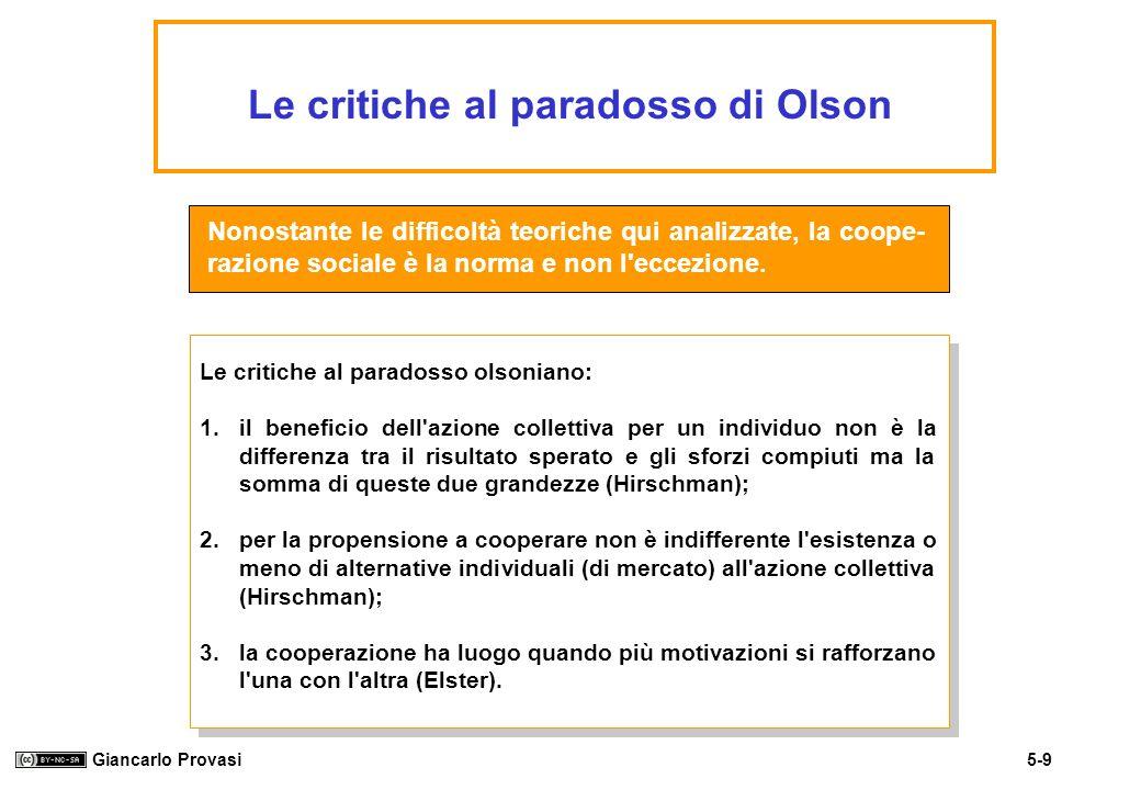 5-9 Giancarlo Provasi Le critiche al paradosso di Olson Nonostante le difficoltà teoriche qui analizzate, la coope- razione sociale è la norma e non l