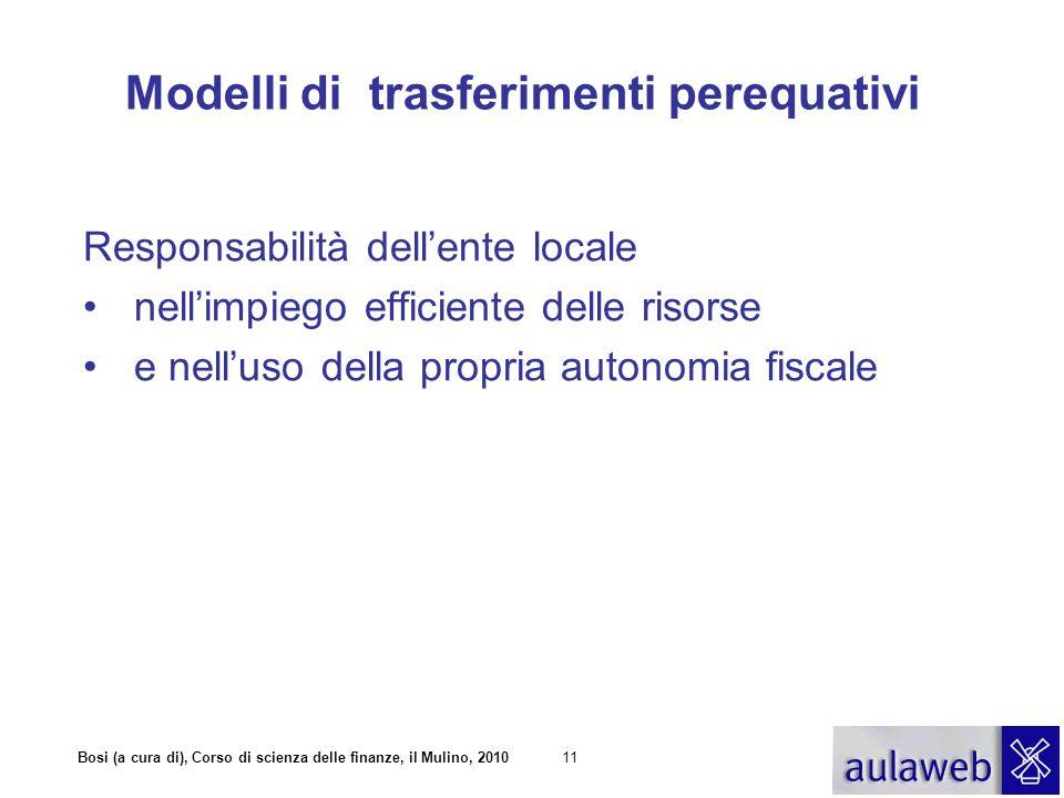 Bosi (a cura di), Corso di scienza delle finanze, il Mulino, 201011 Modelli di trasferimenti perequativi Responsabilità dellente locale nellimpiego ef