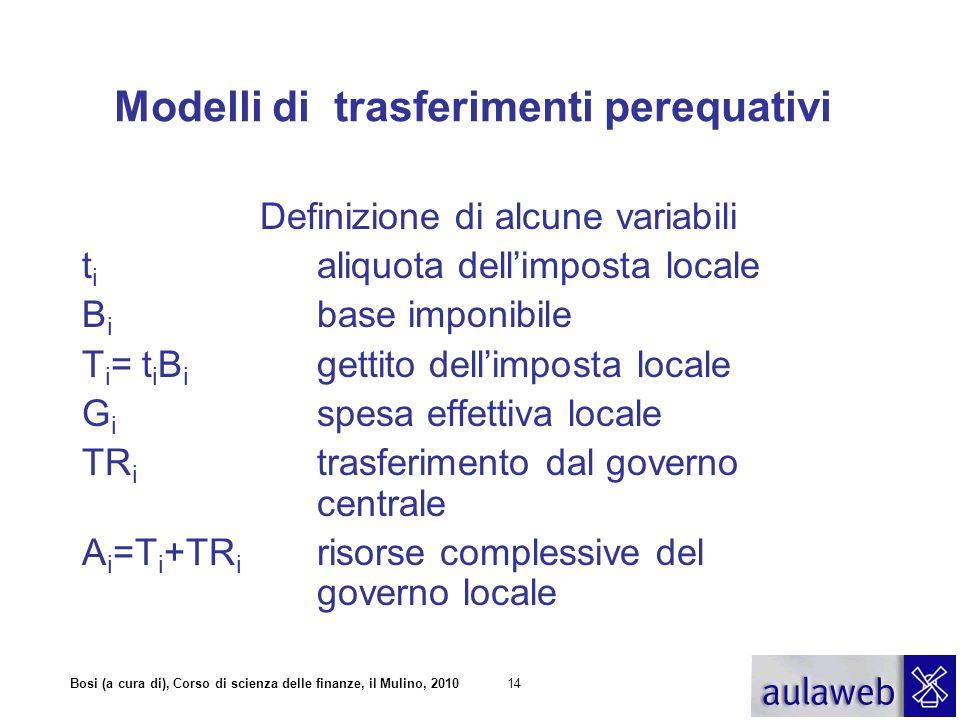 Bosi (a cura di), Corso di scienza delle finanze, il Mulino, 201015 Modelli di trasferimenti perequativi Definizione di alcune variabili t * aliquota media B * base imponibile media T * = t * B * gettito medio A * =T * +TR * fabbisogno standard della federazione