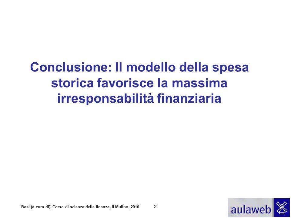 Bosi (a cura di), Corso di scienza delle finanze, il Mulino, 201021 Conclusione: Il modello della spesa storica favorisce la massima irresponsabilità