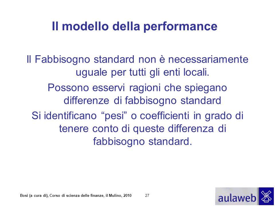 Bosi (a cura di), Corso di scienza delle finanze, il Mulino, 201028 Il modello della performance Fabbisogno standard ponderato A i * = m i (x 1, x 2,..,x n ) A* A i = T i +TR i = A i *