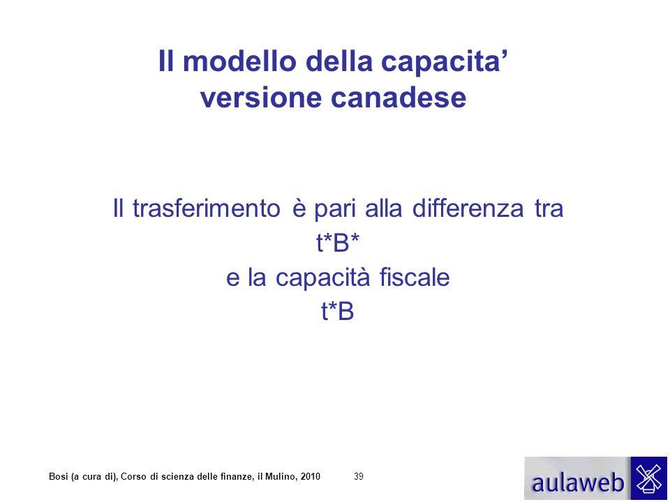 Bosi (a cura di), Corso di scienza delle finanze, il Mulino, 201040 Il modello della capacità versione canadese A*=t*B* TR i =A* - t*B i = t*(B*- B i ) A i = T i + TR i = t*B* + (t i -t*)B i