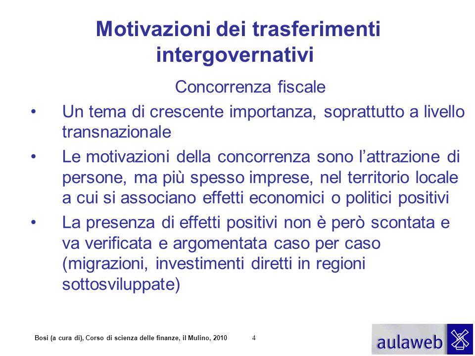 Bosi (a cura di), Corso di scienza delle finanze, il Mulino, 20104 Motivazioni dei trasferimenti intergovernativi Concorrenza fiscale Un tema di cresc