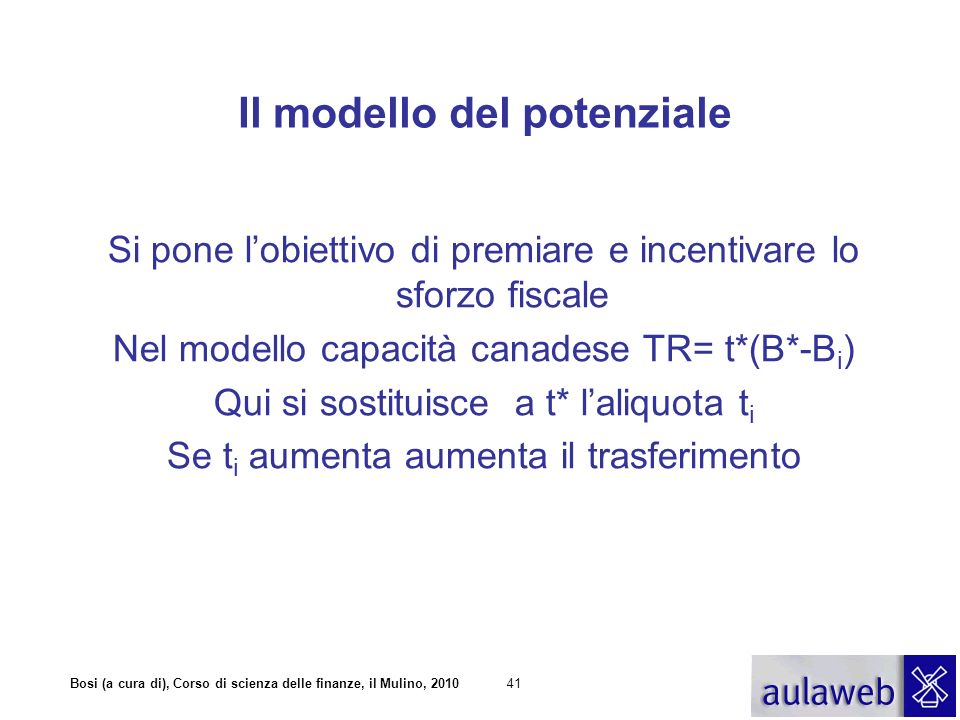 Bosi (a cura di), Corso di scienza delle finanze, il Mulino, 201042 Il modello del potenziale TR i = t i (B*- B i ) A i = T i + TR i = t i B i + t i B* -t i B i = t i B*