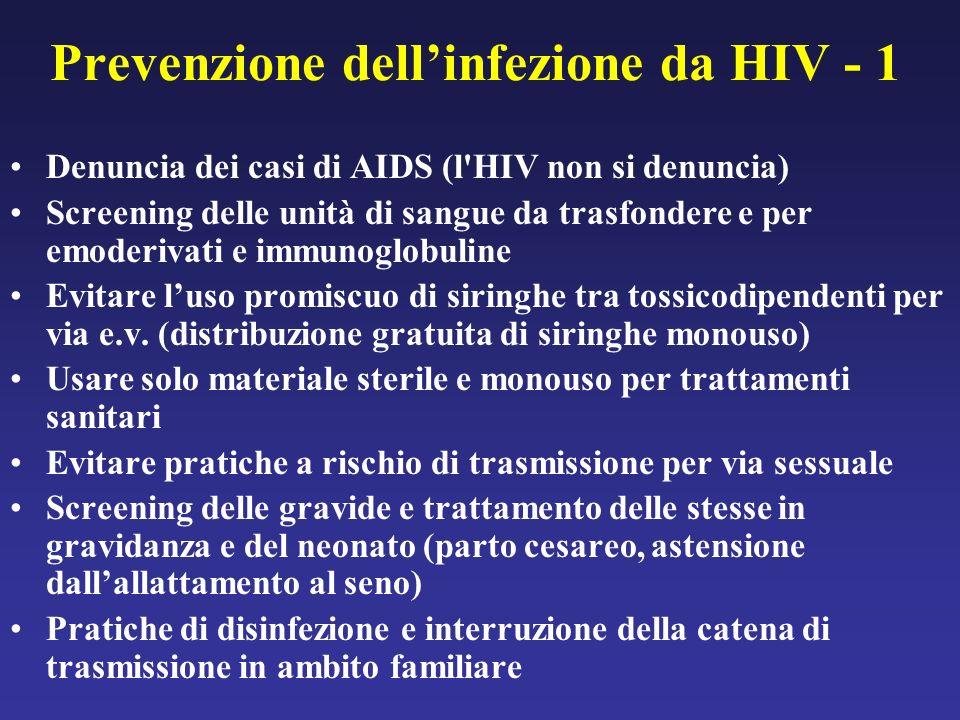Prevenzione dellinfezione da HIV - 1 Denuncia dei casi di AIDS (l HIV non si denuncia) Screening delle unità di sangue da trasfondere e per emoderivati e immunoglobuline Evitare luso promiscuo di siringhe tra tossicodipendenti per via e.v.