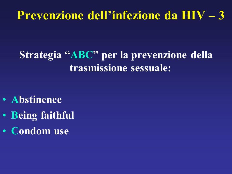Prevenzione dellinfezione da HIV – 3 Strategia ABC per la prevenzione della trasmissione sessuale: Abstinence Being faithful Condom use