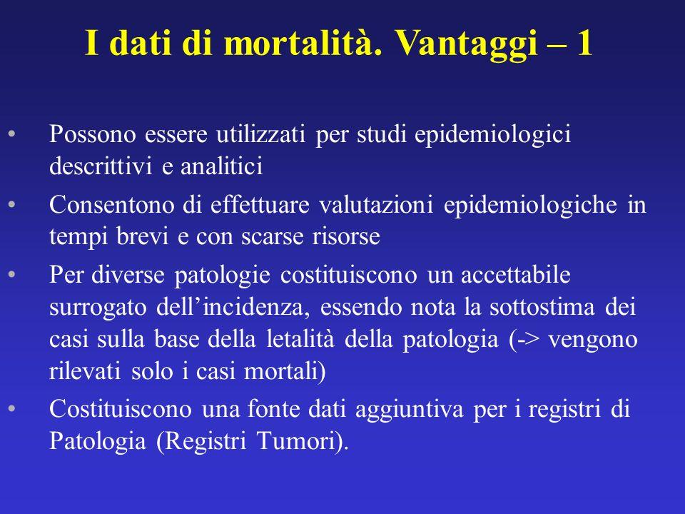 Possono essere utilizzati per studi epidemiologici descrittivi e analitici Consentono di effettuare valutazioni epidemiologiche in tempi brevi e con s