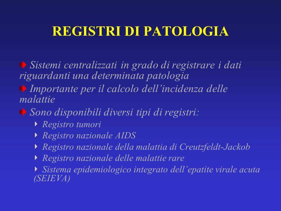 REGISTRI DI PATOLOGIA Sistemi centralizzati in grado di registrare i dati riguardanti una determinata patologia Importante per il calcolo dellincidenz