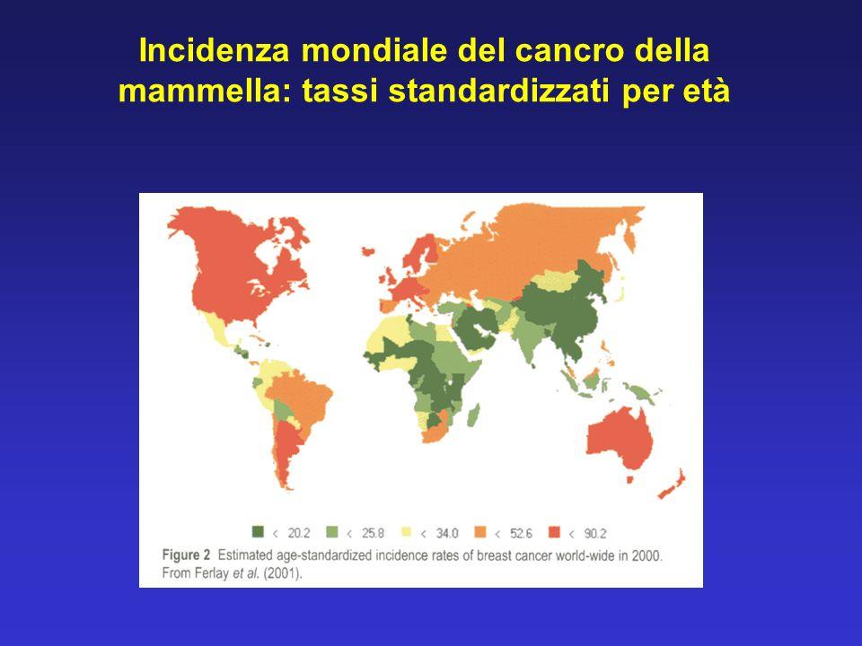 Incidenza mondiale del cancro della mammella: tassi standardizzati per età