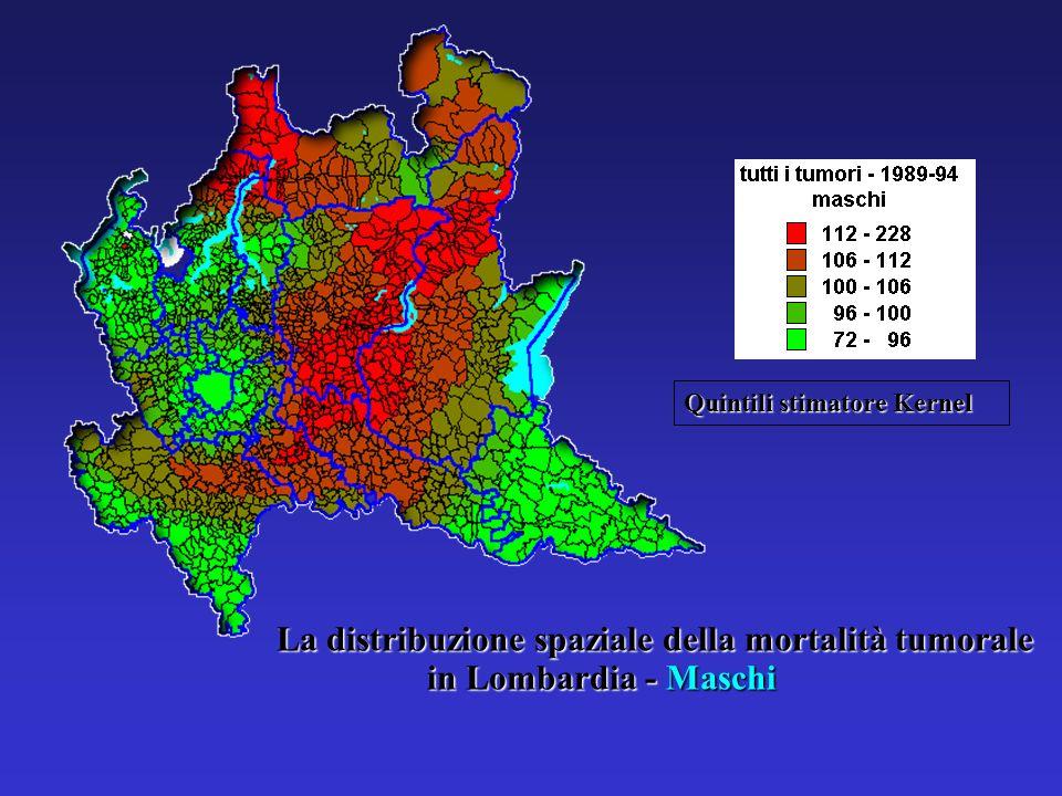 La distribuzione spaziale della mortalità tumorale in Lombardia - Maschi Quintili stimatore Kernel