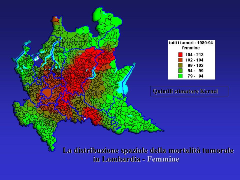 La distribuzione spaziale della mortalità tumorale in Lombardia - Femmine Quintili stimatore Kernel