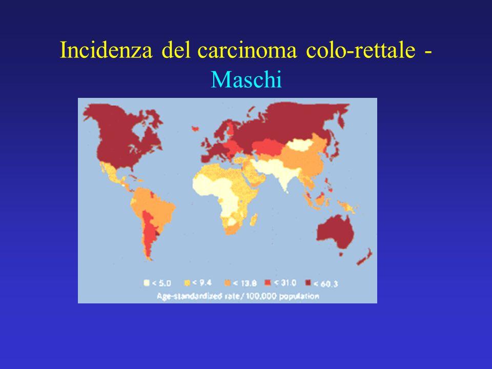 Incidenza del carcinoma colo-rettale - Maschi