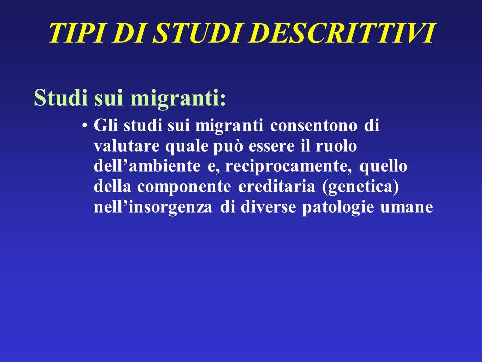 TIPI DI STUDI DESCRITTIVI Studi sui migranti: Gli studi sui migranti consentono di valutare quale può essere il ruolo dellambiente e, reciprocamente,