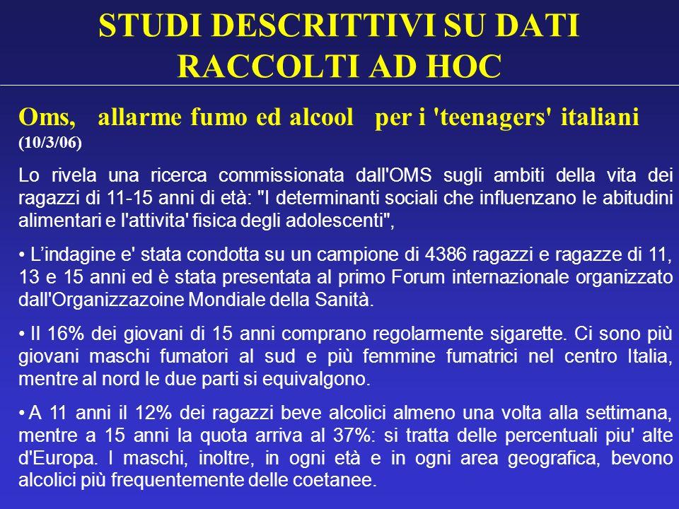 STUDI DESCRITTIVI SU DATI RACCOLTI AD HOC Oms, allarme fumo ed alcool per i 'teenagers' italiani (10/3/06) Lo rivela una ricerca commissionata dall'OM