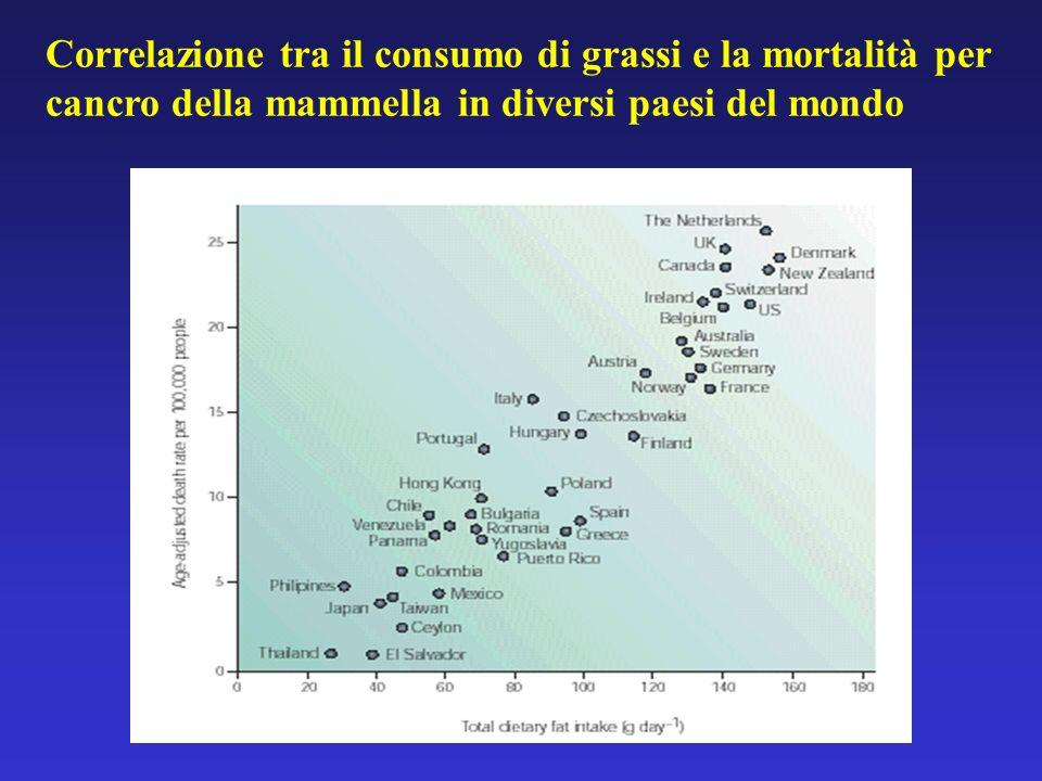 Correlazione tra il consumo di grassi e la mortalità per cancro della mammella in diversi paesi del mondo