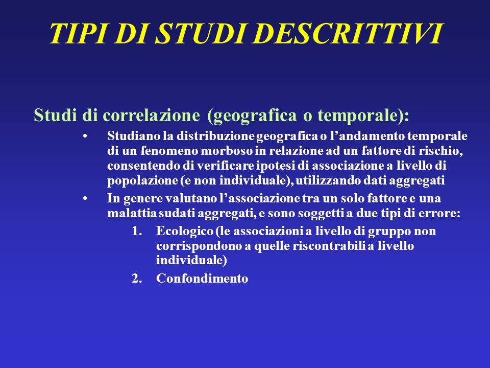 TIPI DI STUDI DESCRITTIVI Studi di correlazione (geografica o temporale): Studiano la distribuzione geografica o landamento temporale di un fenomeno m