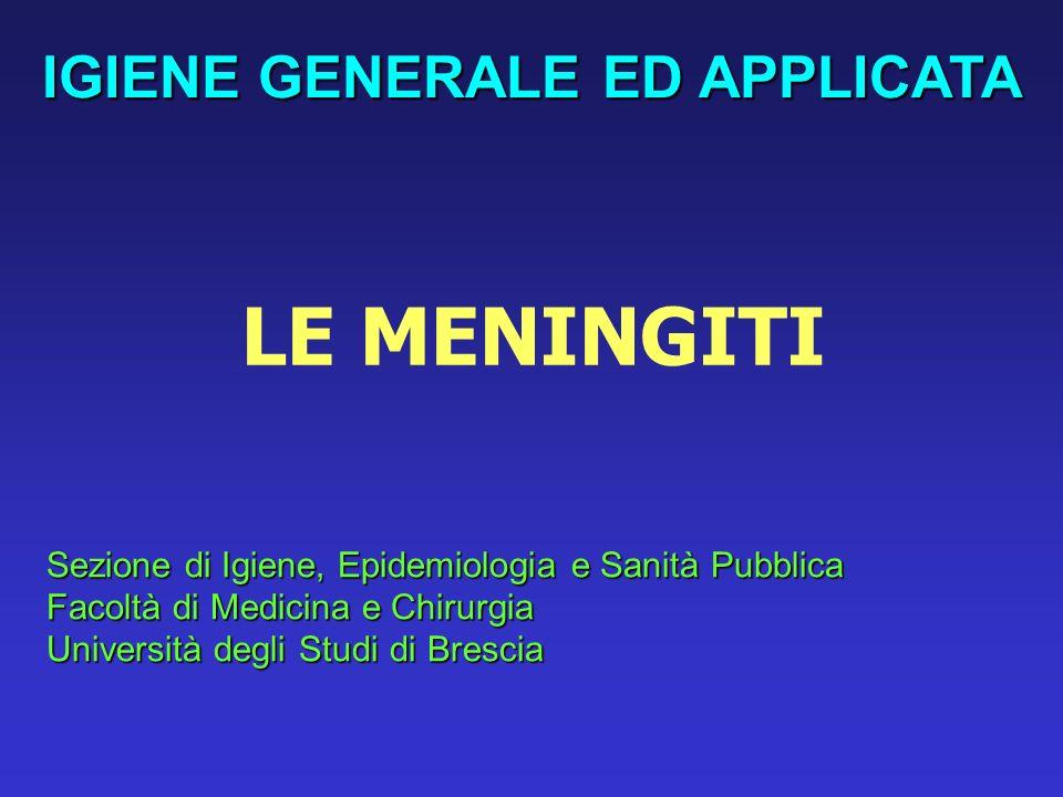 MENINGITI BATTERICHE – Aspetti epidemiologici Streptococcus pneumoniae Neisseria meningitidis 29-33%26-30% Haemophilus influenzae 14%
