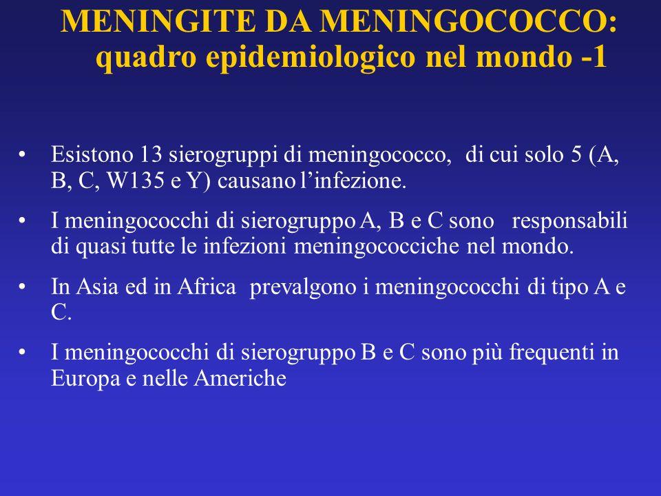Esistono 13 sierogruppi di meningococco, di cui solo 5 (A, B, C, W135 e Y) causano linfezione. I meningococchi di sierogruppo A, B e C sono responsabi