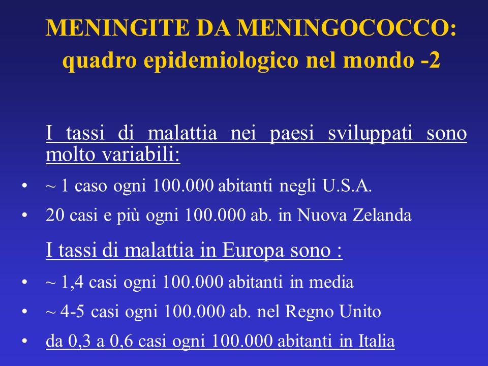 I tassi di malattia nei paesi sviluppati sono molto variabili: ~ 1 caso ogni 100.000 abitanti negli U.S.A. 20 casi e più ogni 100.000 ab. in Nuova Zel