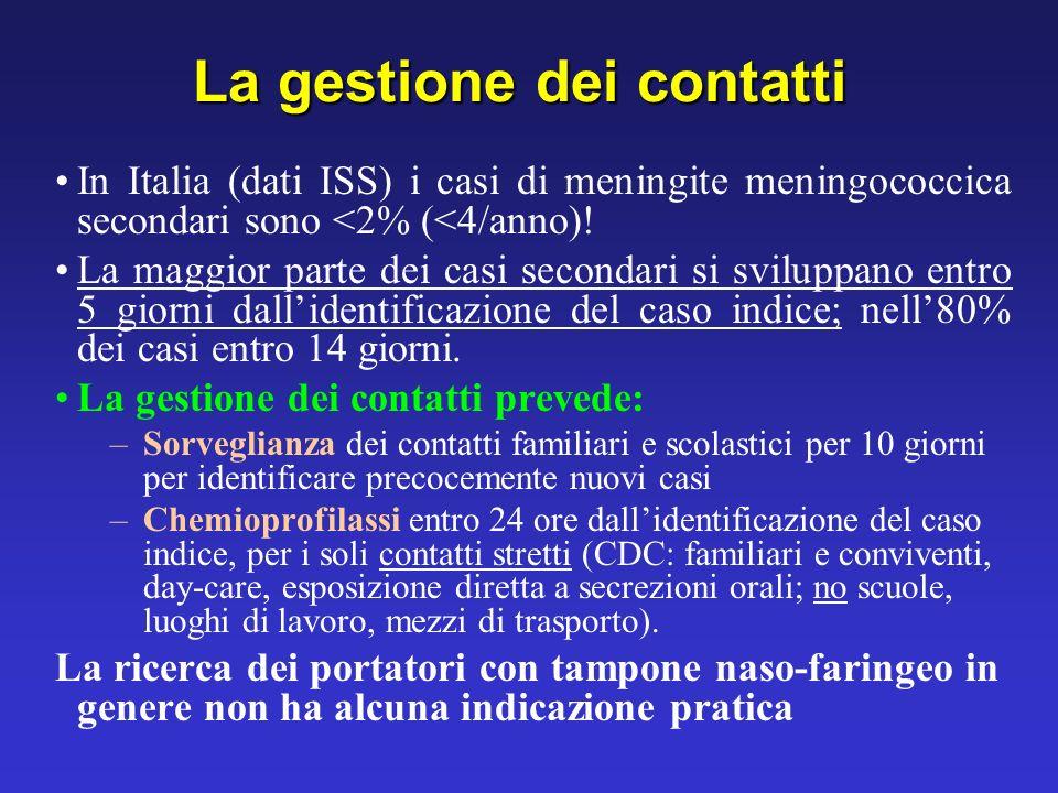 La gestione dei contatti In Italia (dati ISS) i casi di meningite meningococcica secondari sono <2% (<4/anno)! La maggior parte dei casi secondari si